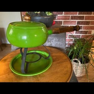 Vintage Fondue Pot Set Avocado Green